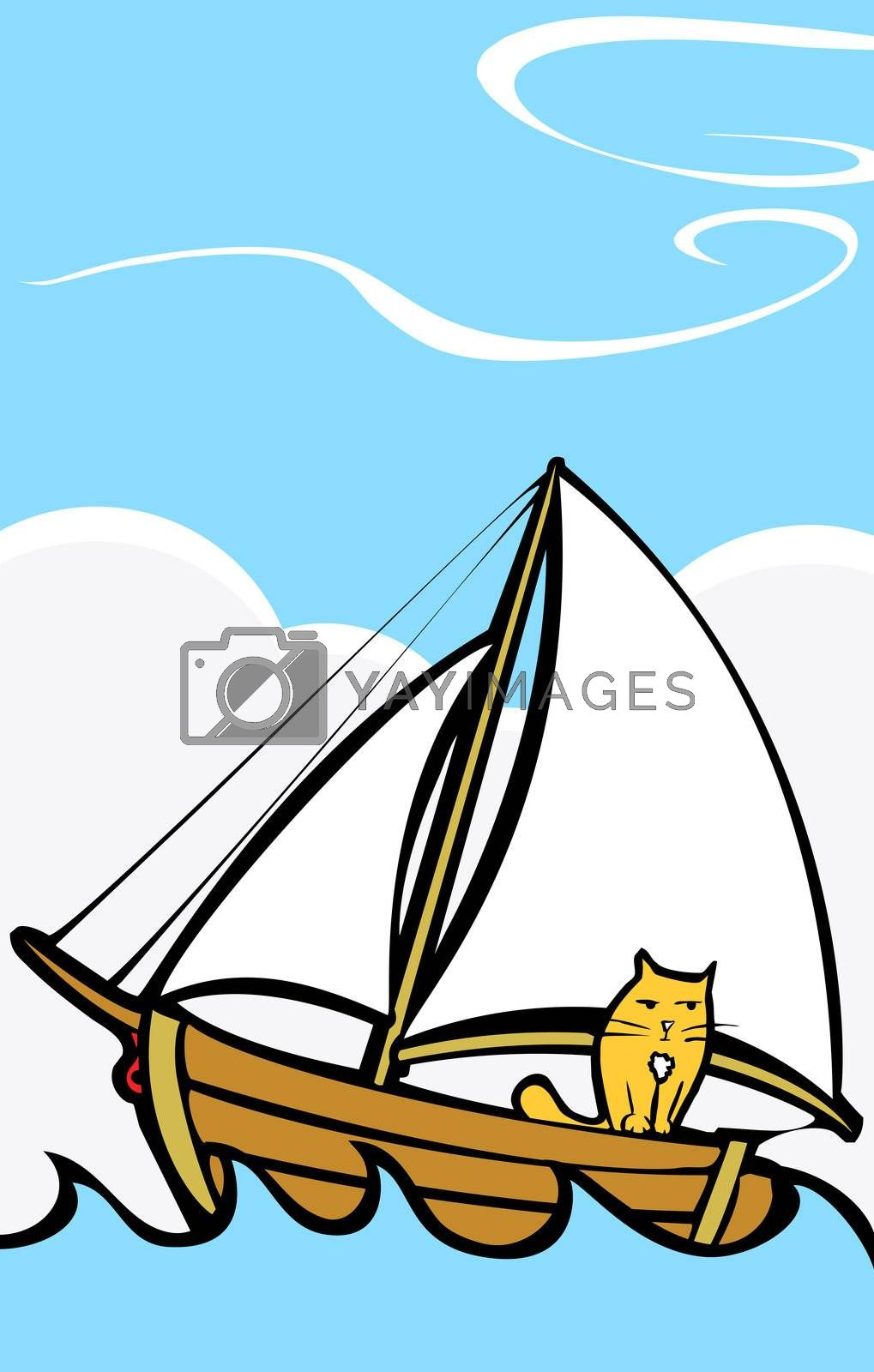 Orange cat taking a trip on a boat at sea.