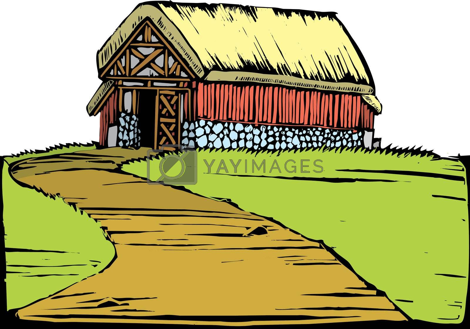 Scratchboard image of a red barn with a turf roof sitting on a hill.