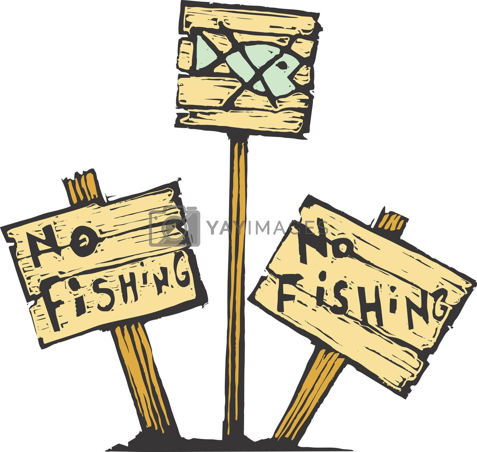 Three no fishing signs made of wood.