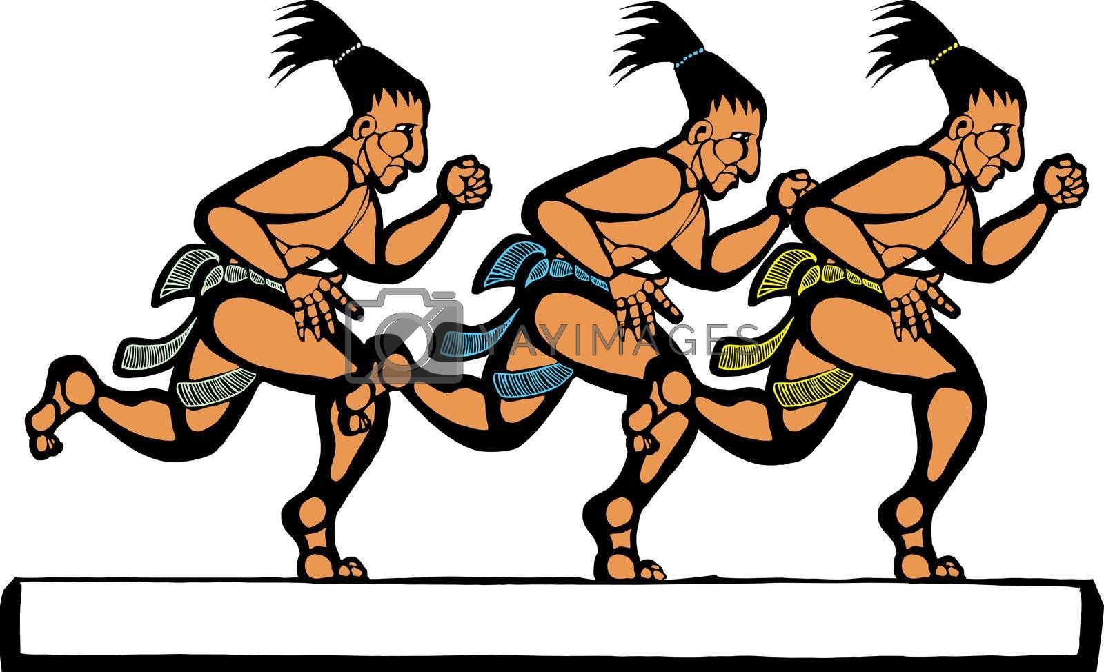 Mayan men running in a group of three.