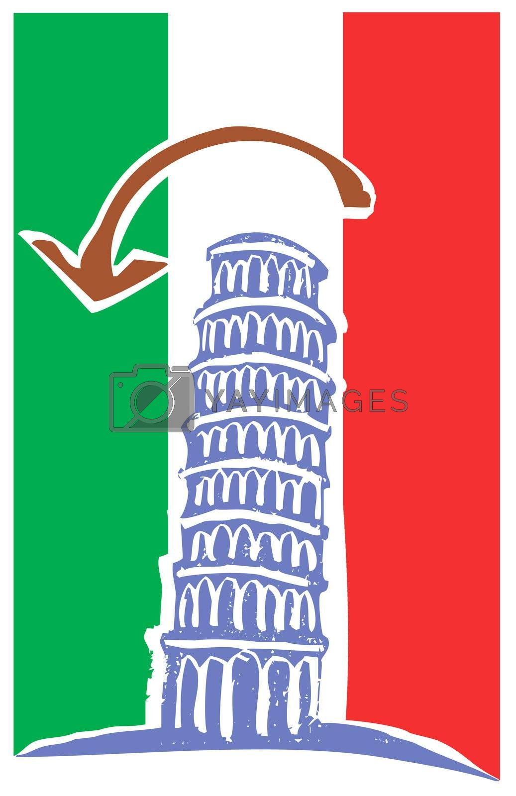 Woodcut style illustration of the leaning tower of Pisa Italy.