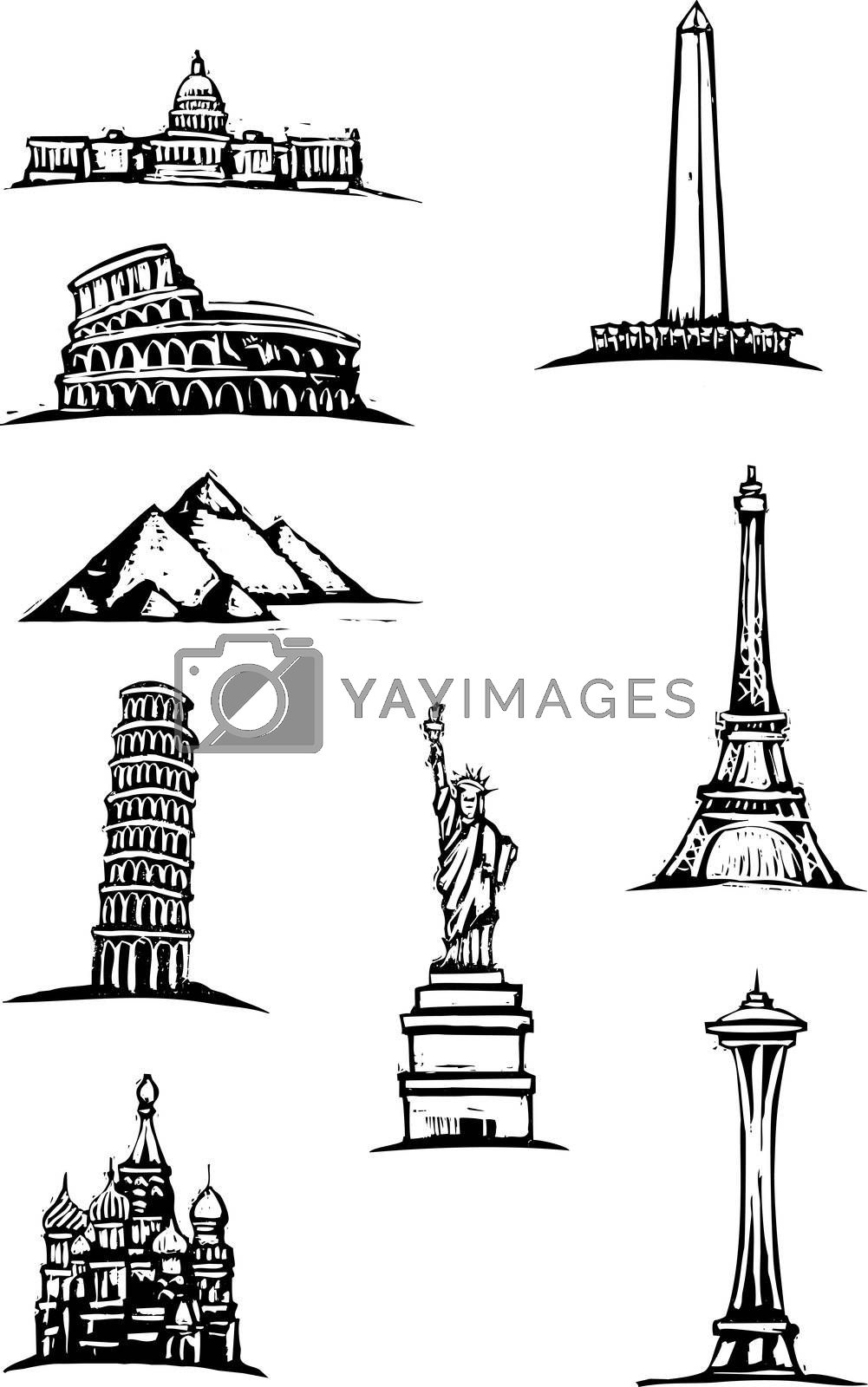 Black and White woodcut style illustration of great world buildings.