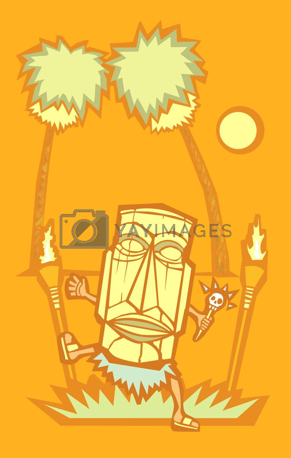 Retro styled Witchdoctor with Tiki mask and skull wand.