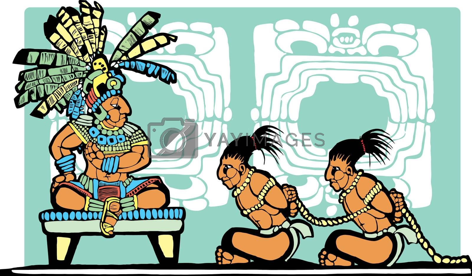 Mayan King on throne looks over war prisoners.