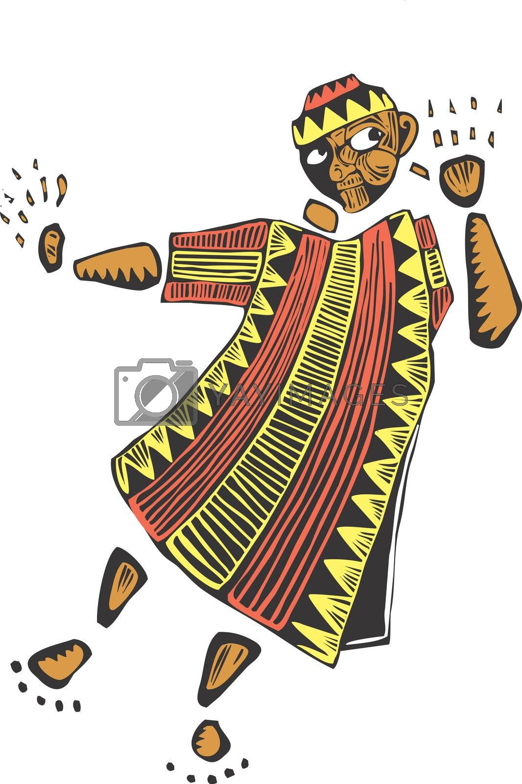 African man in colorful robes listening to something in the wind.