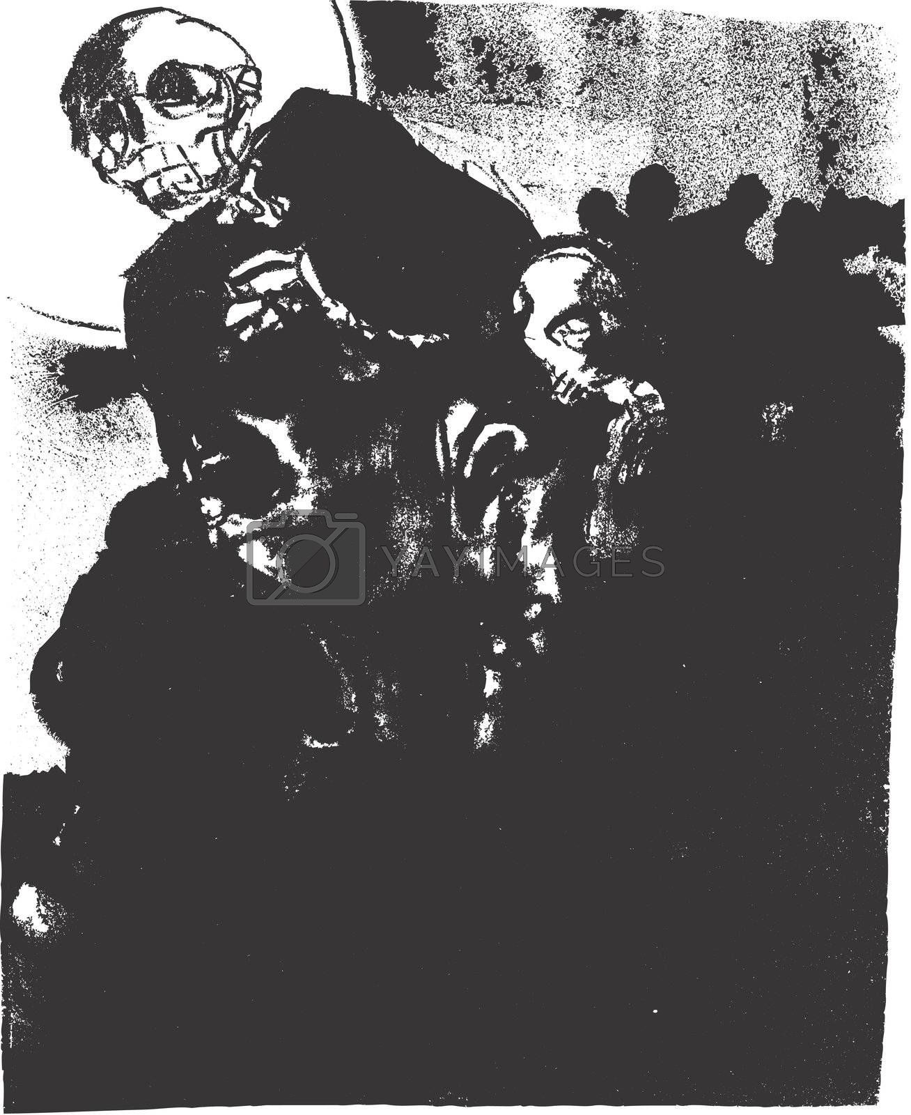 A lithograph image of the specter of death.