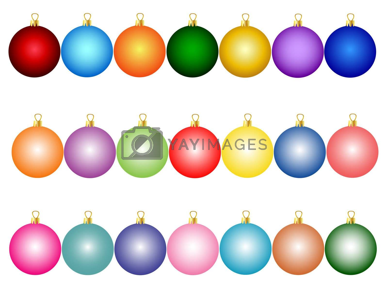 set of colorful christmas balls by peromarketing