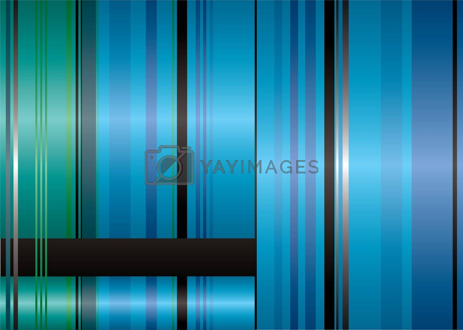 Green and blue abstract background with ribbon stripes and copyspace