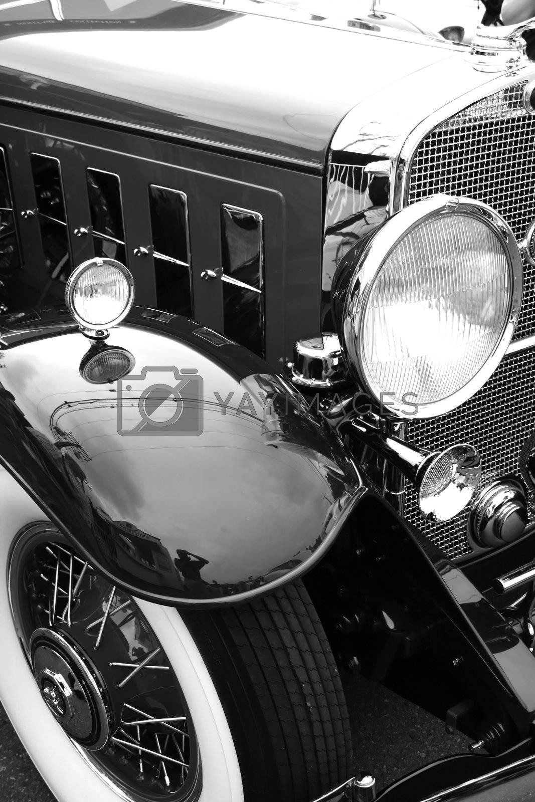 black classic car on woodward dream cruise show