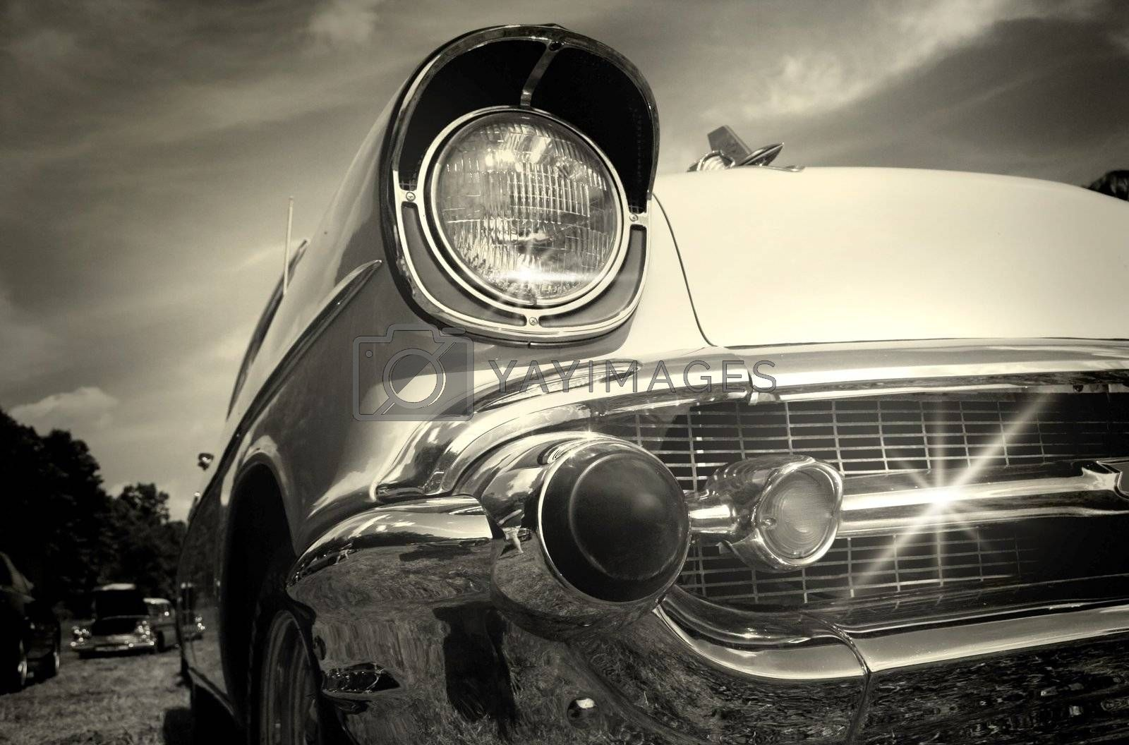 Well maintained sparkling Vintage car in black and white