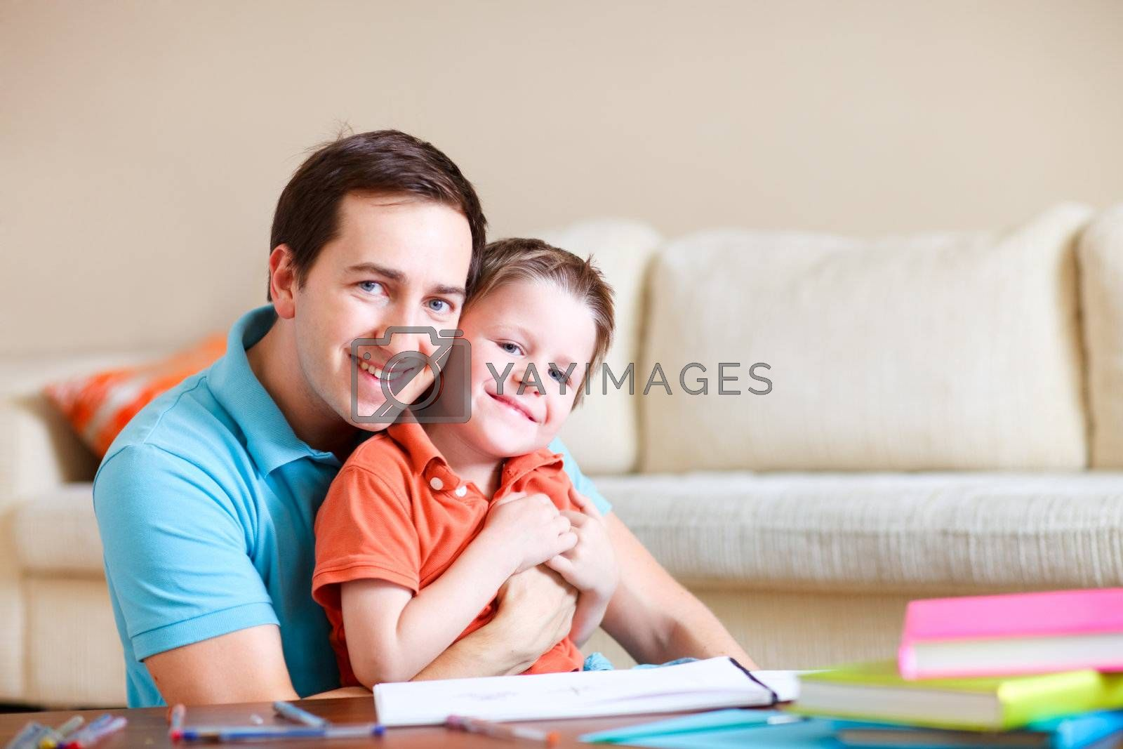 Father and son at home by shalamov