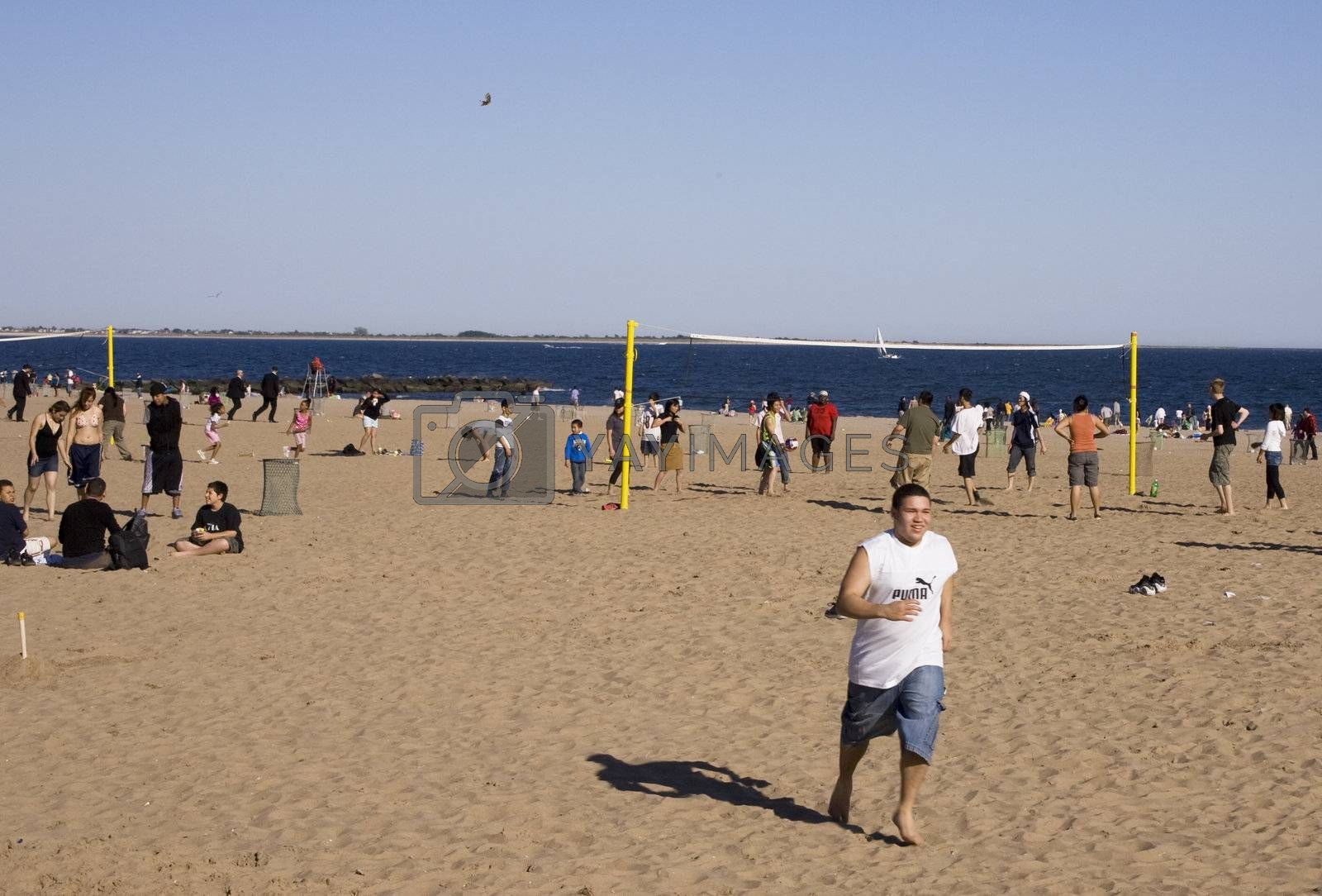 Volleyball at Coney Island Beach on Memorial Day weekend 2008.