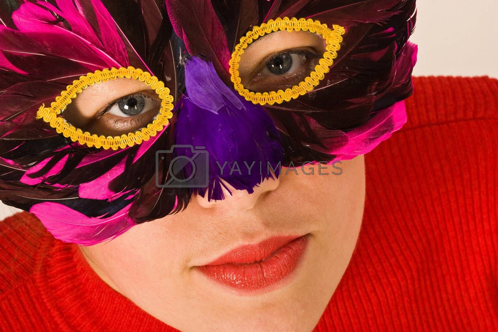 portret of lady ih red with mask, carnival