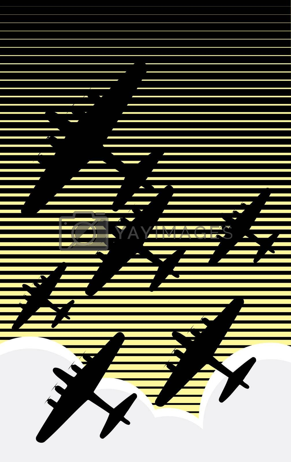 Fleet of World War II bombers against an evening sky retro poster style.
