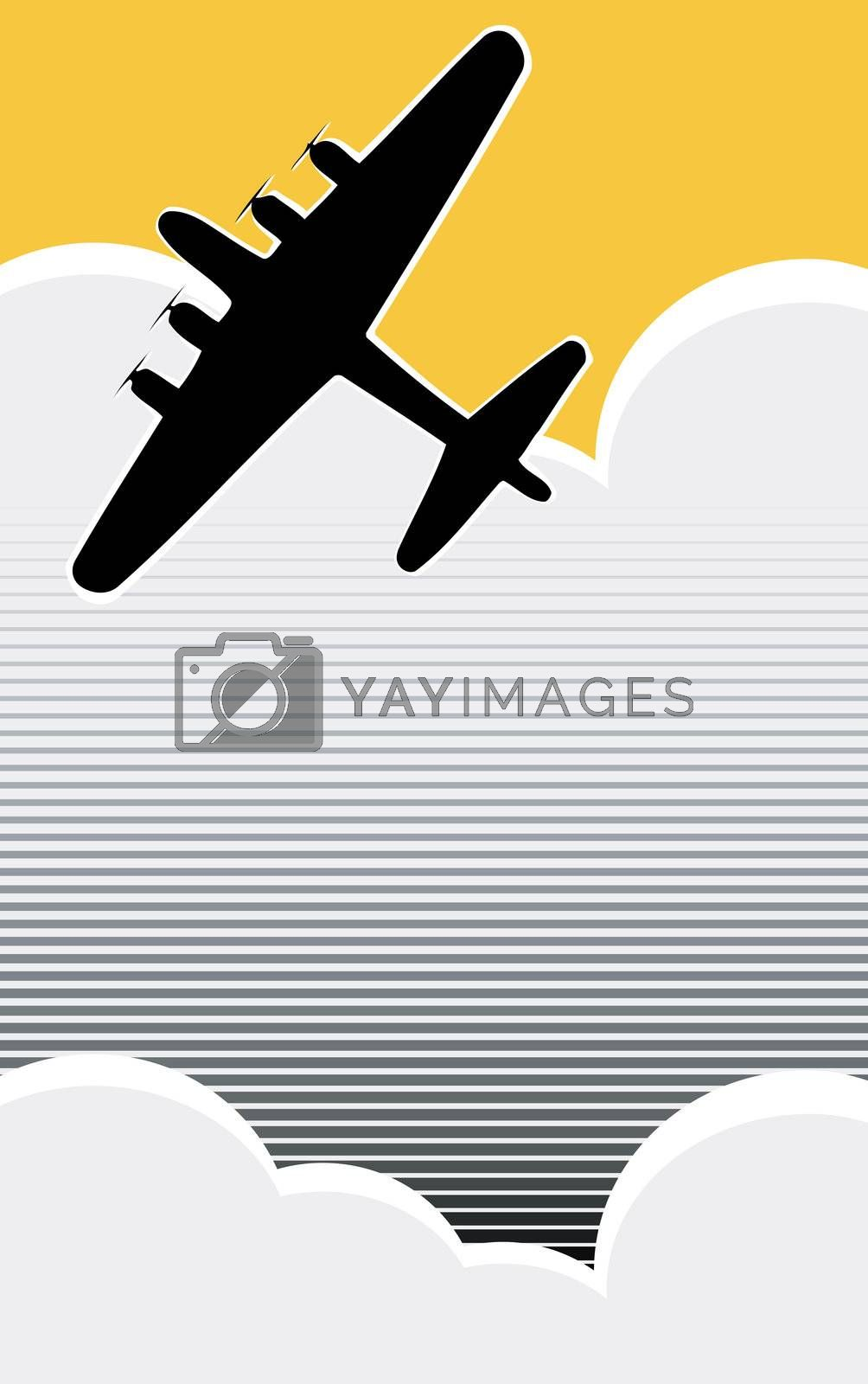 Lone World War II bomber in the clouds in retro poster style.