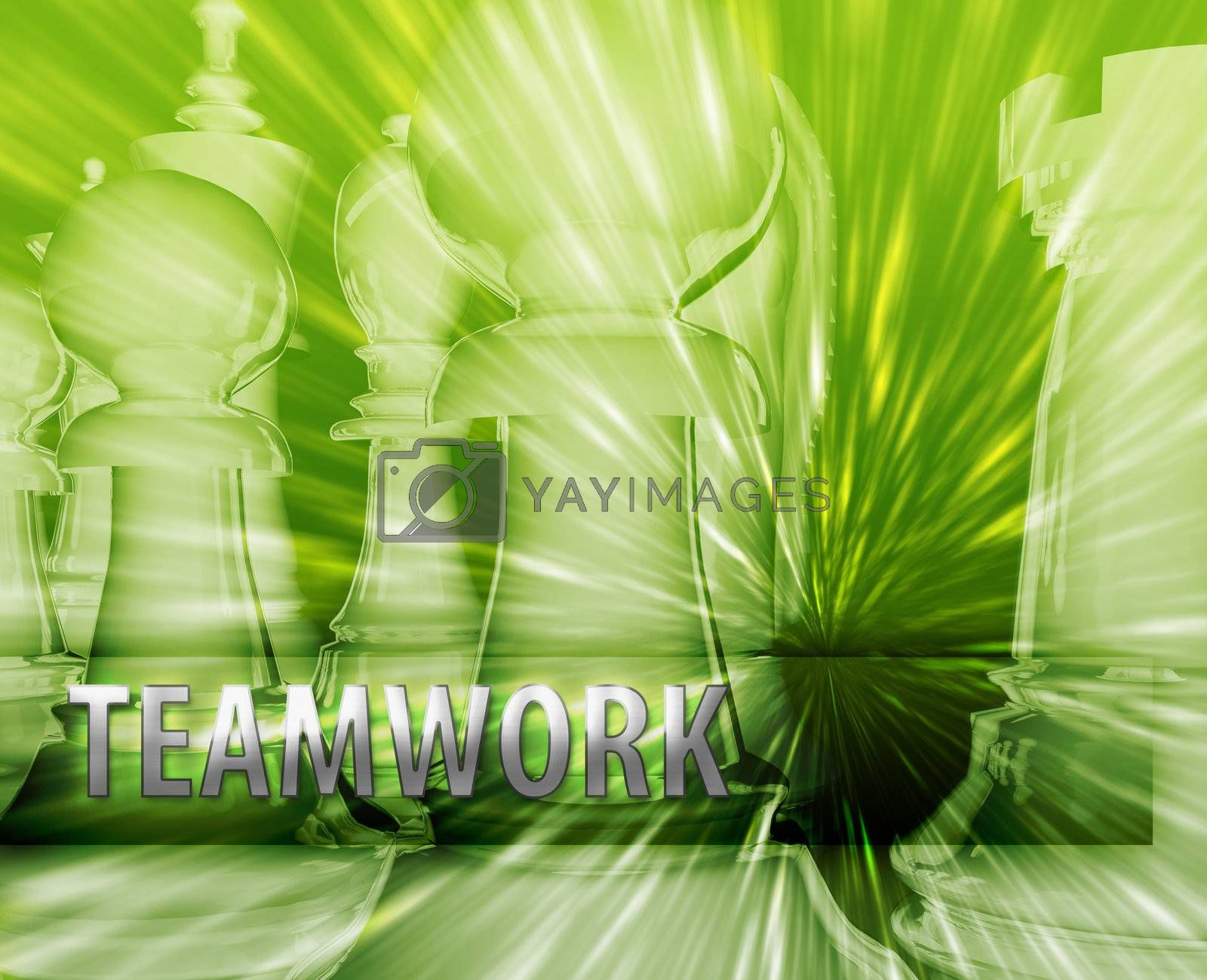 Abstract teamwork business strategy management chess themed illustration