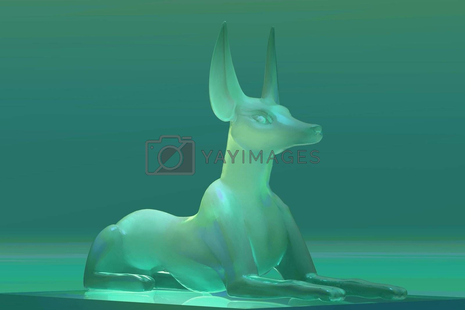 Glass statue of the Egyptian god Anubis.