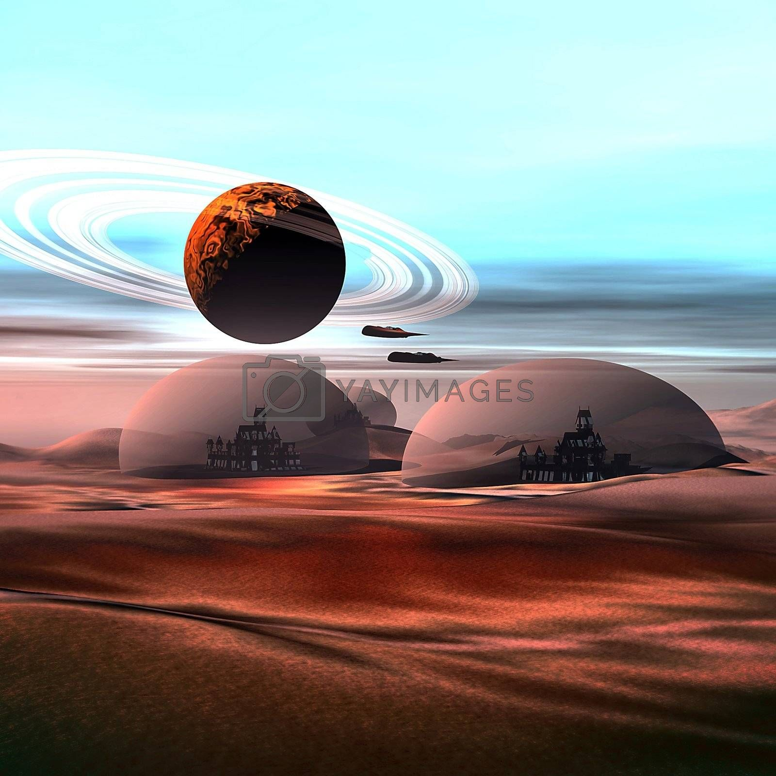 City life under domes on Mars.