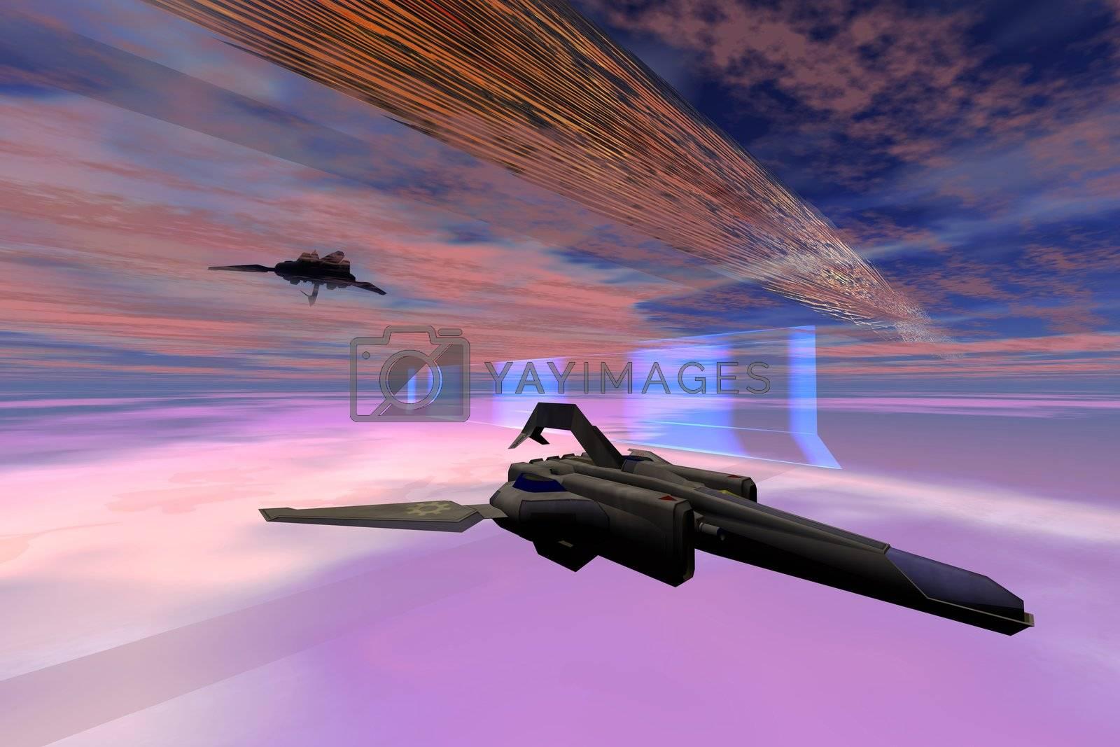 Two starships warp along space enegy fields.