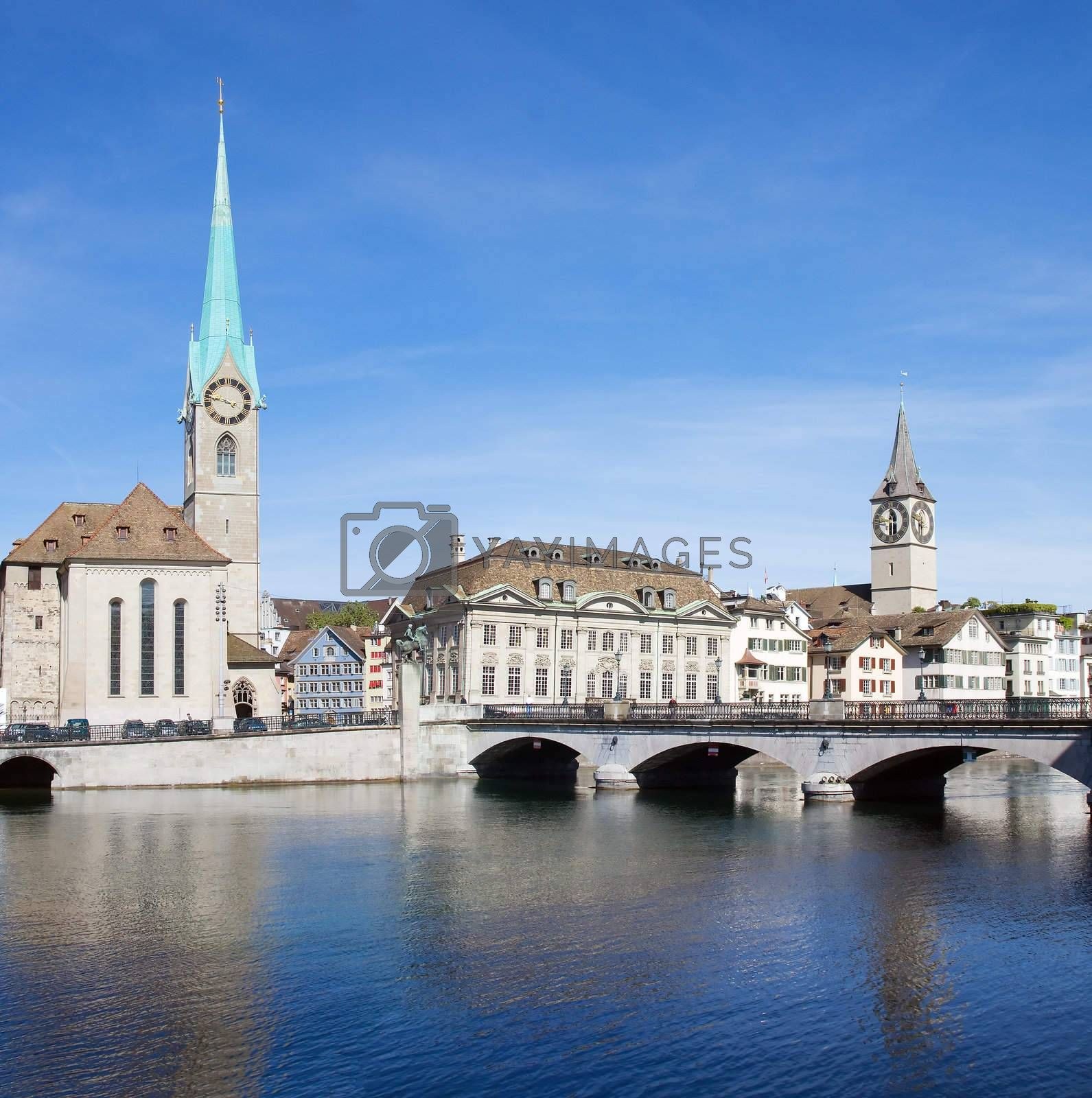 Zurich cityscape (Famous Fraumuenster Cathedral and St.Peter Church)