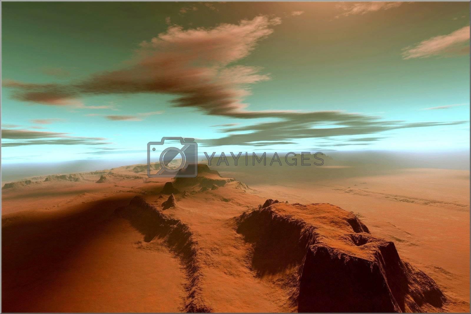 Overhead view of a vast desert wilderness.