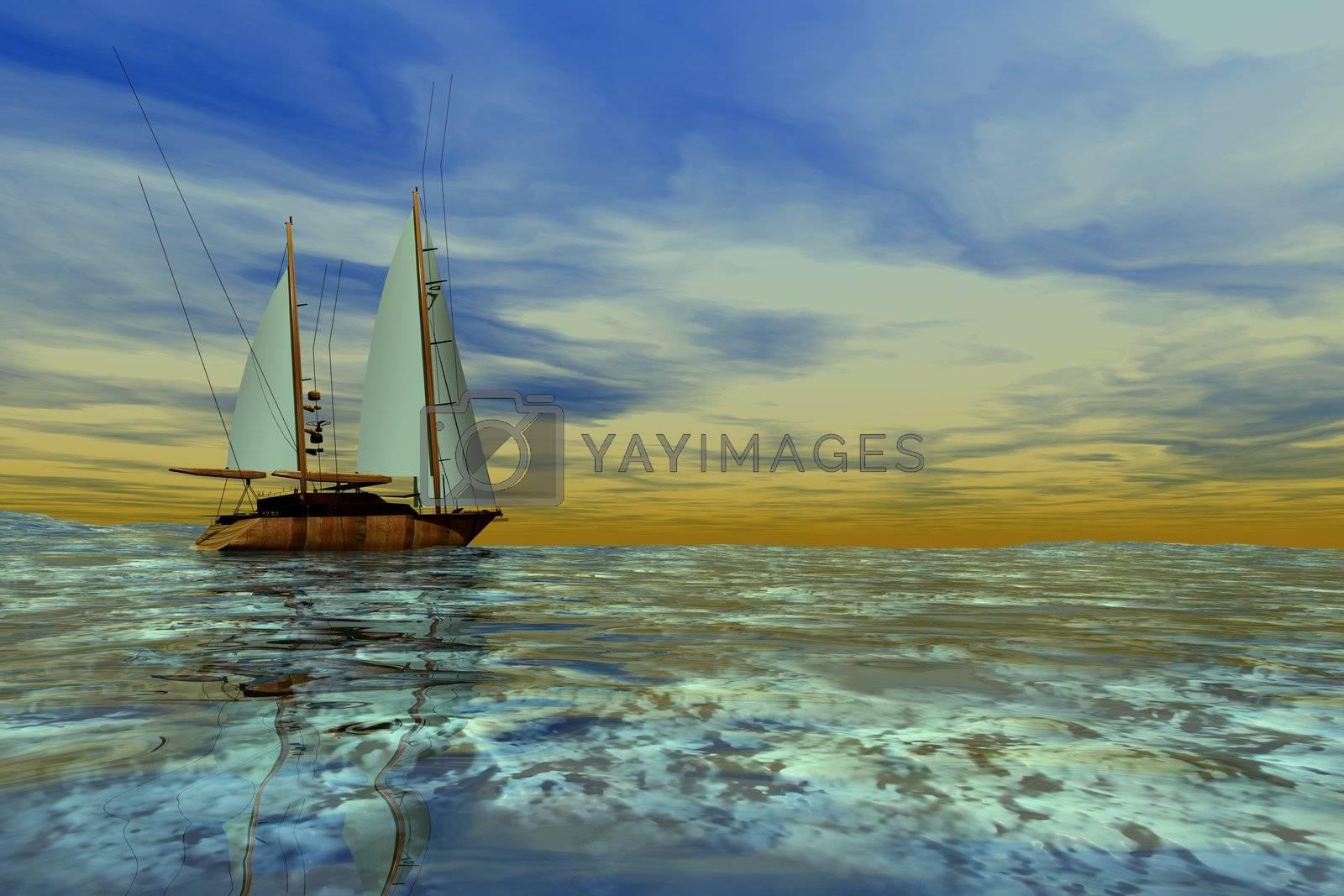 A sailboat heads toward the horizon on a beautiful day.