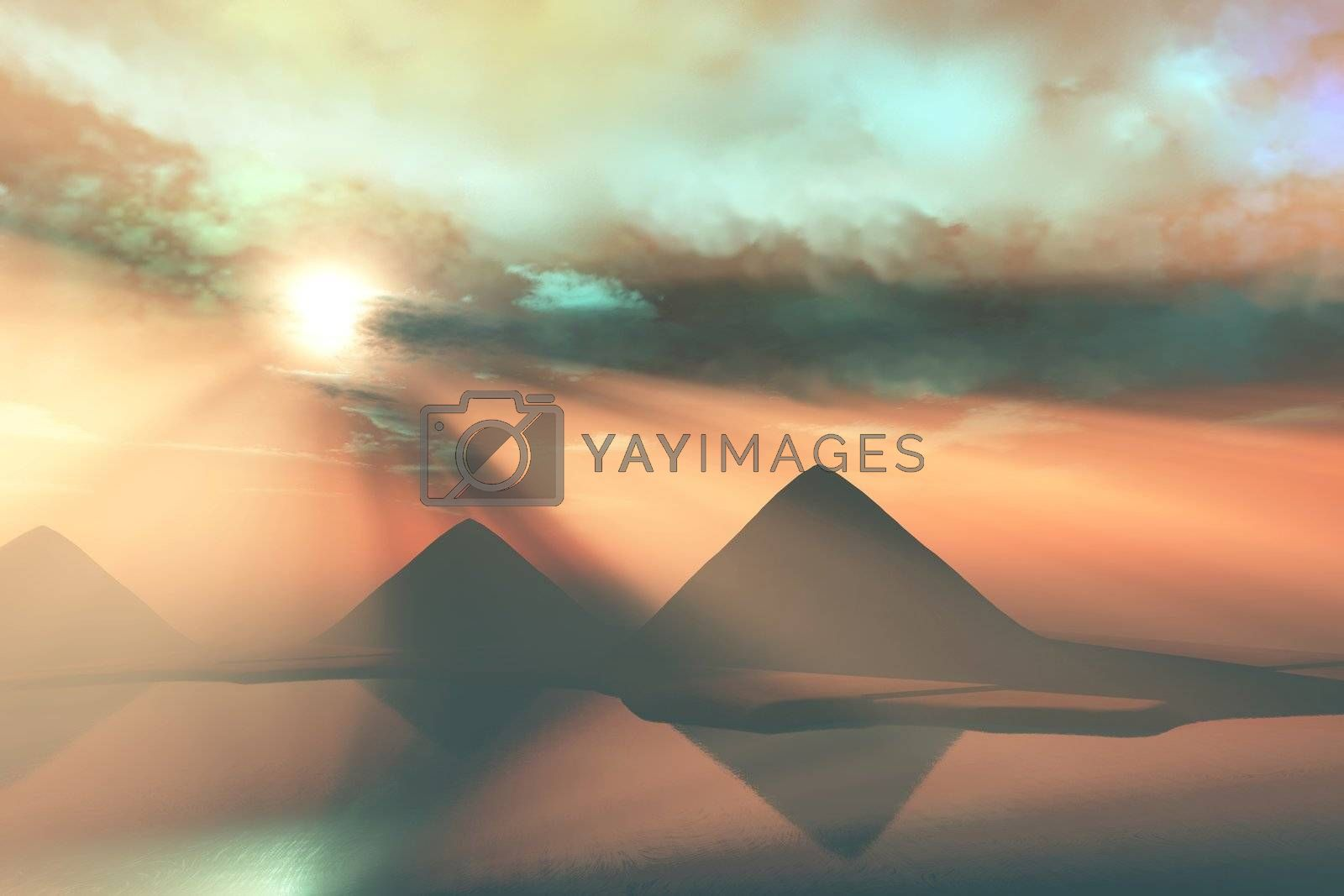 Three pyramids along the Nile River in Egypt.