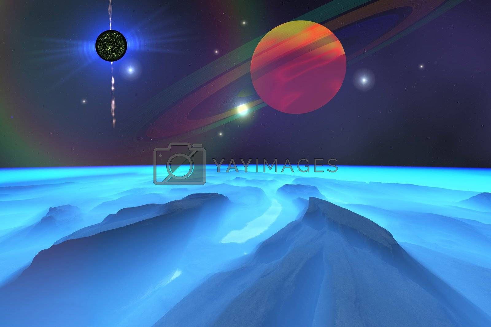 Cosmic landscape of a planet in space.