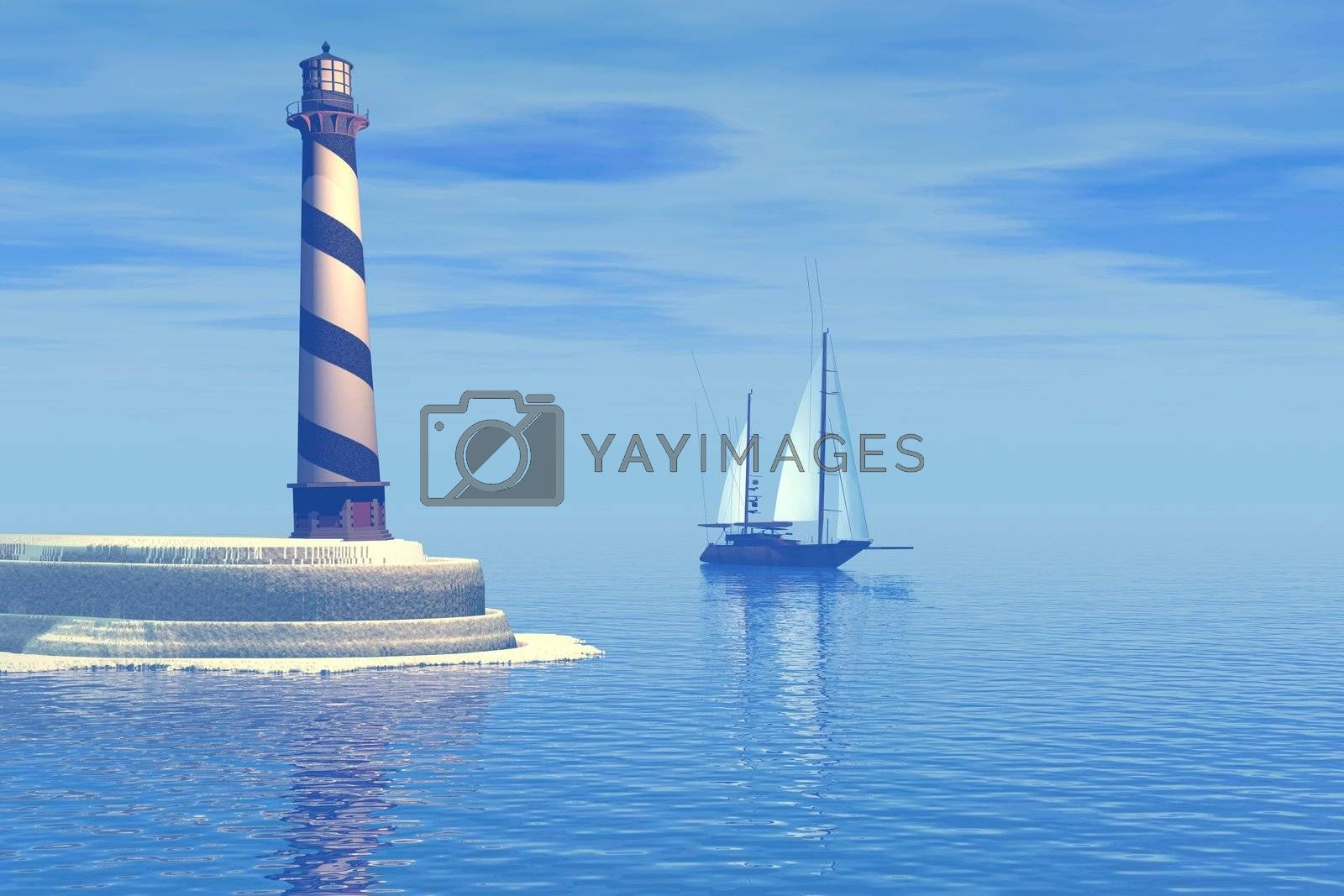 A sailboat passes the lighthouse.