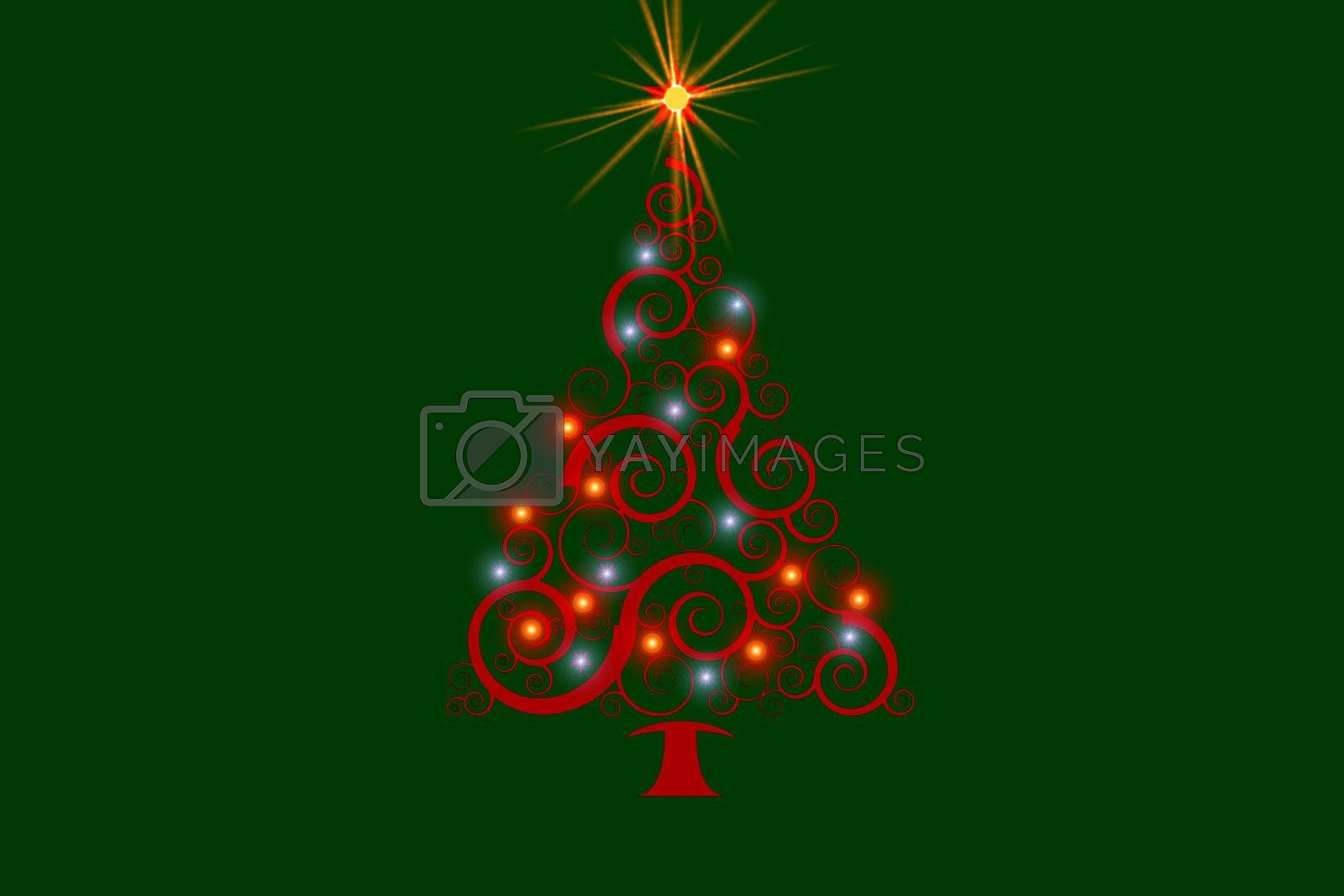 A brightly colored tree lite up for Christmas.