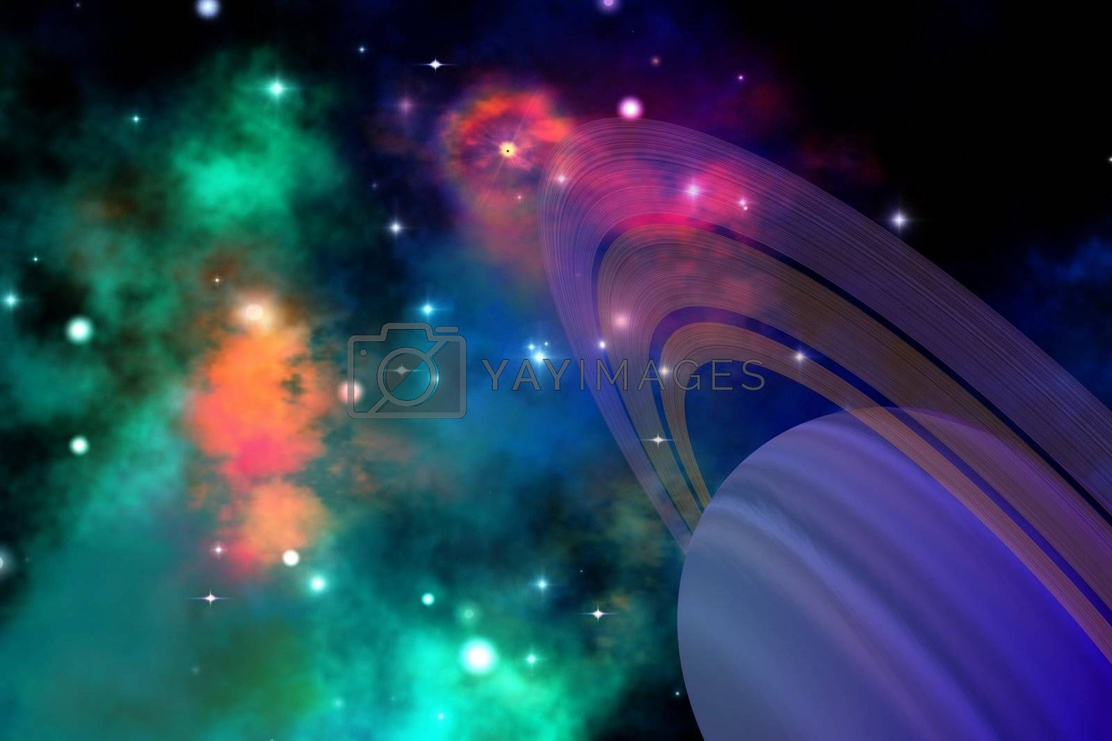 Colorful nebula is near this ringed planet.