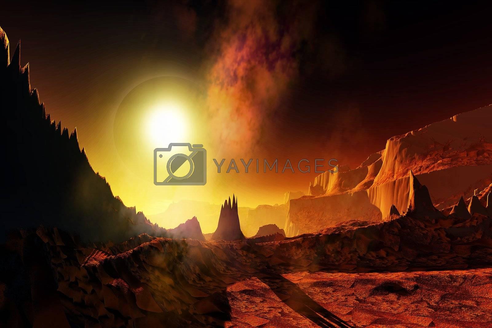 A large sun heats this alien planet.