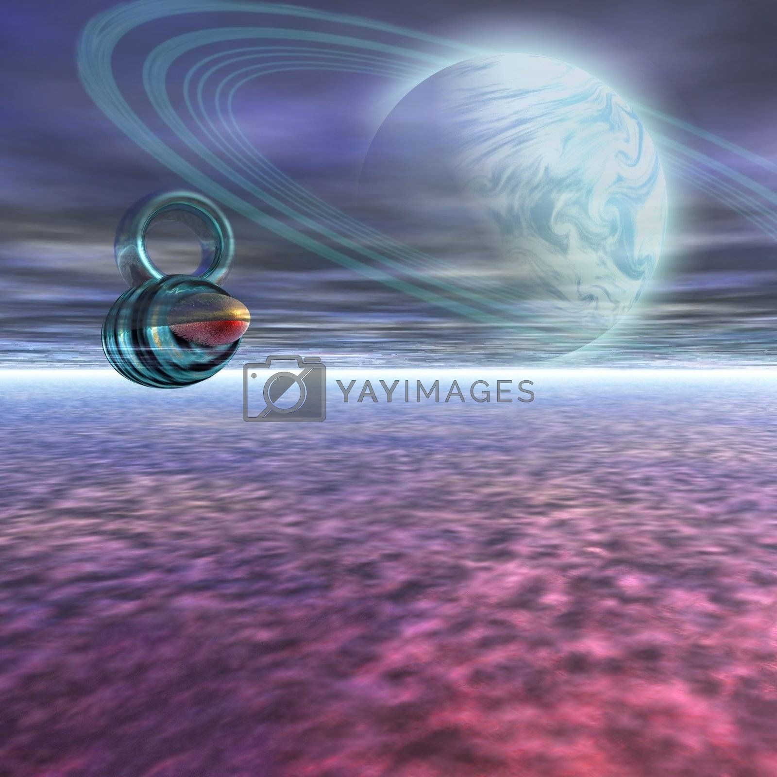 A probe from Earth is sent to Jupiter to scan the gaseous atmosphere.