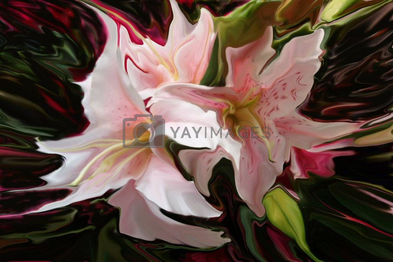 Abstract bouquet of lilly flowers.