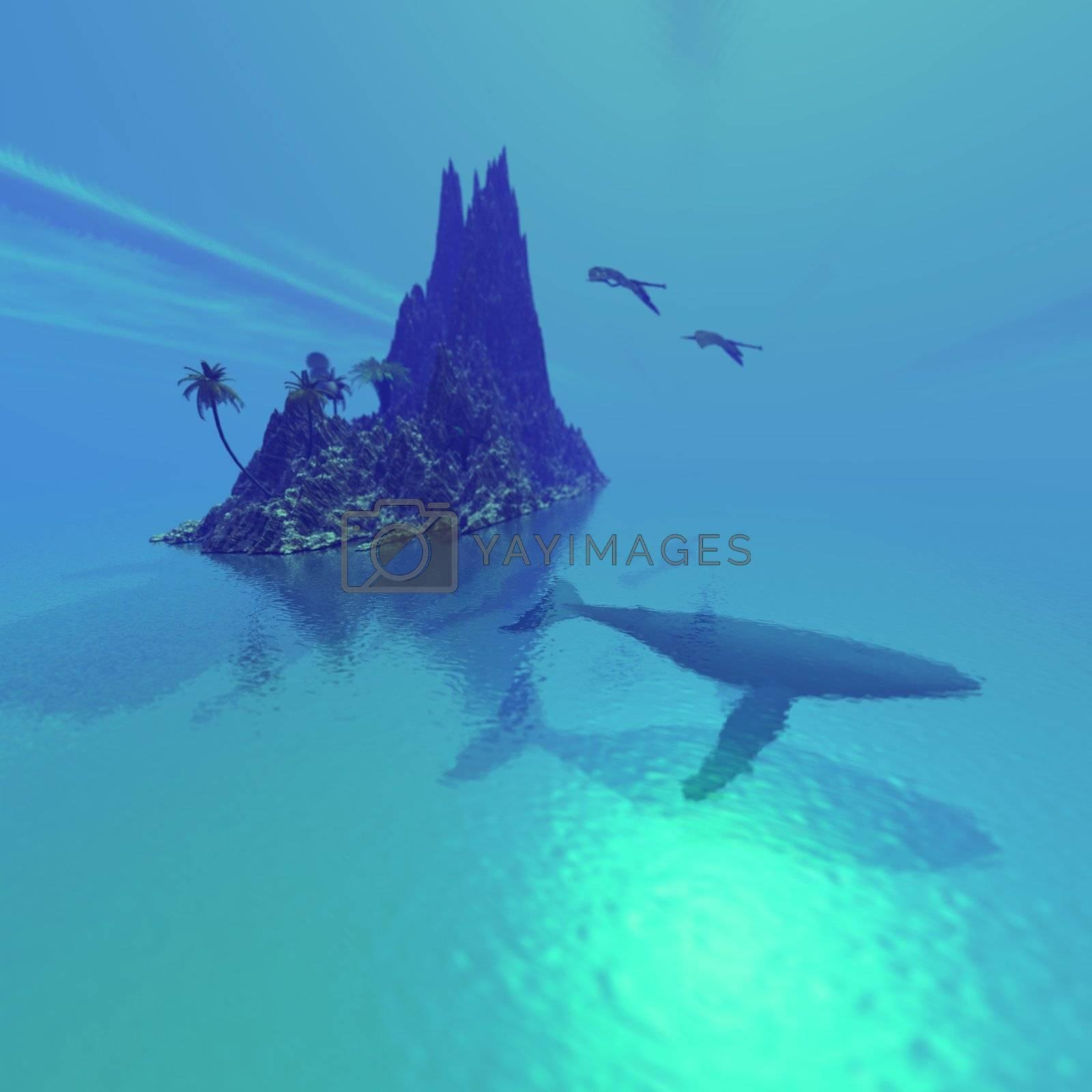 A Humpback whale lies near a fantasy tropical island.