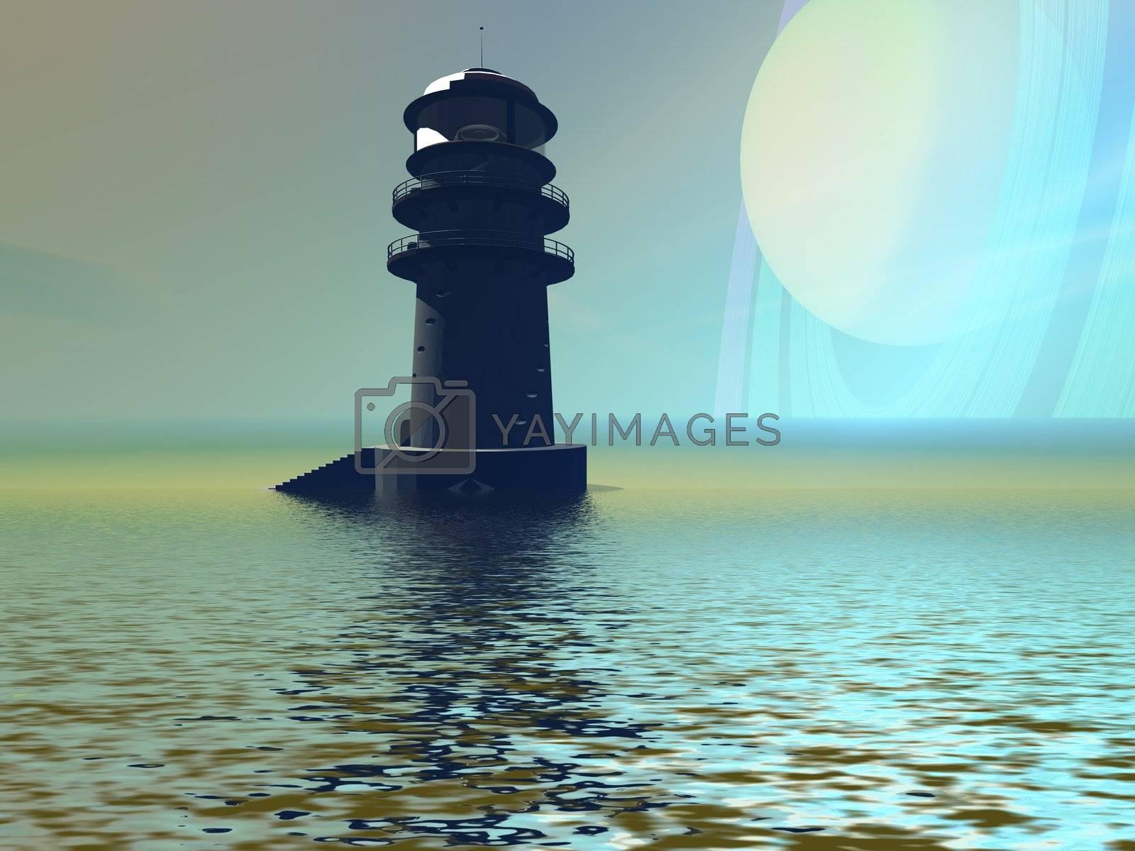 A lighthouse beacon on an alien planet.