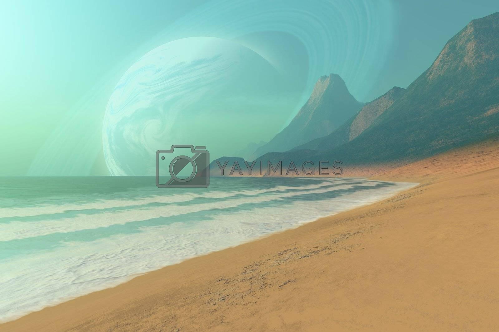 Cosmic seascape on an alien planet.