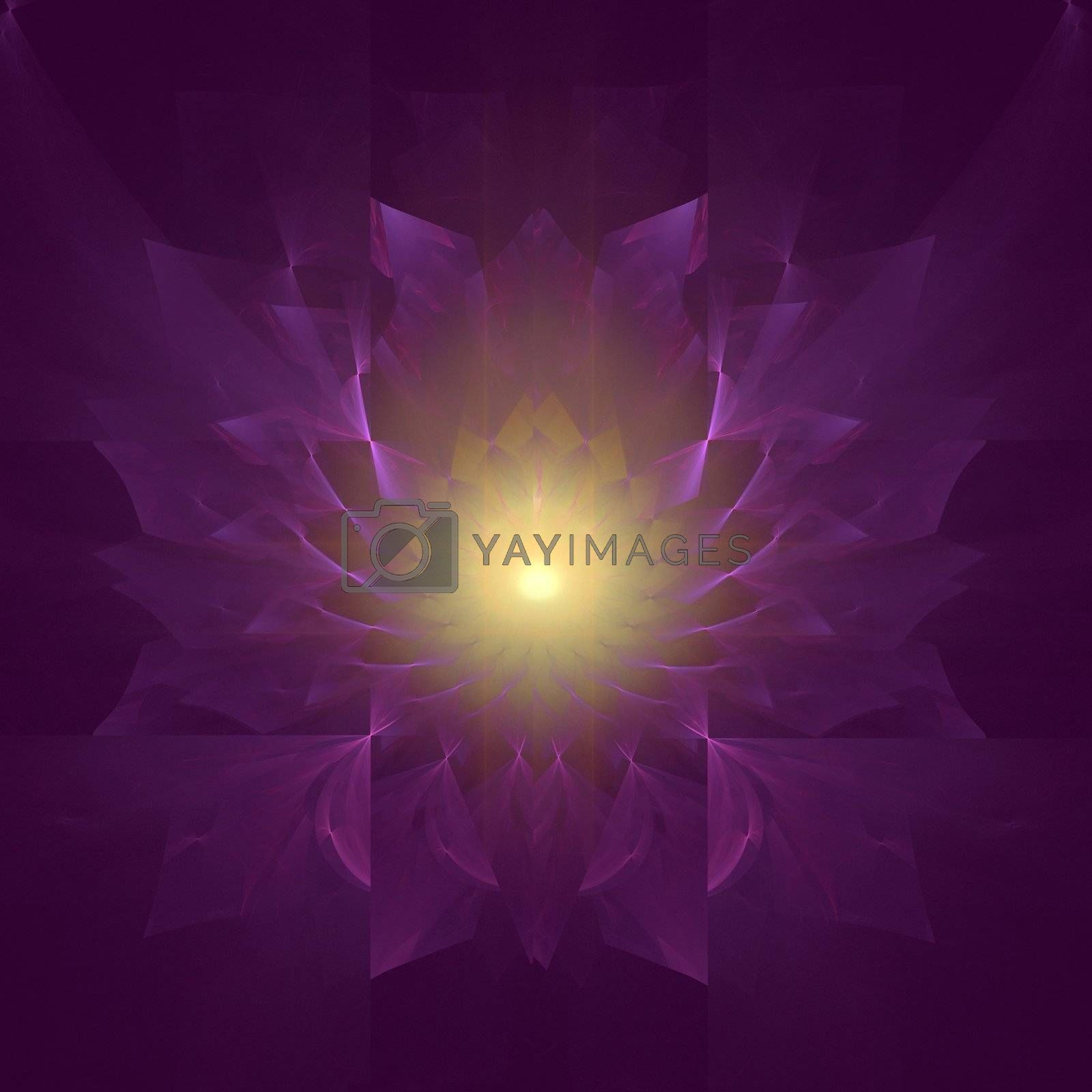 Abstract fractal design representing the mum flower with emphasis on the color purple.