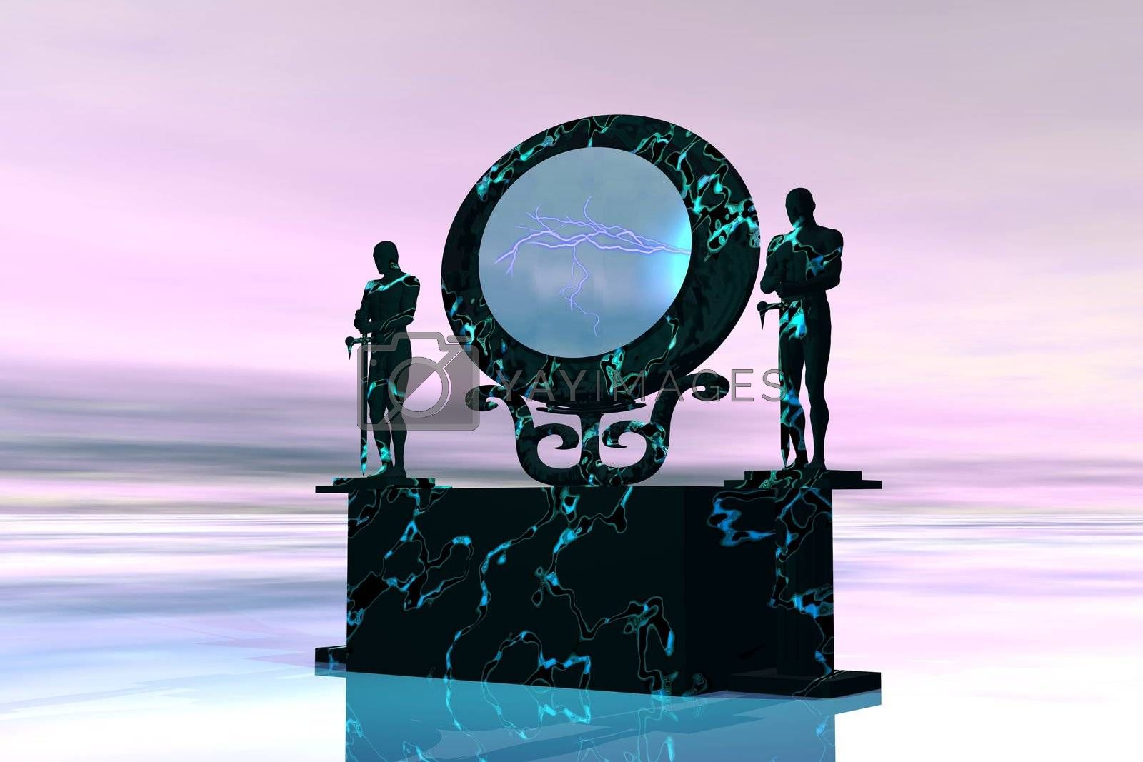 Statues stand near a dimensional portal to another universe.