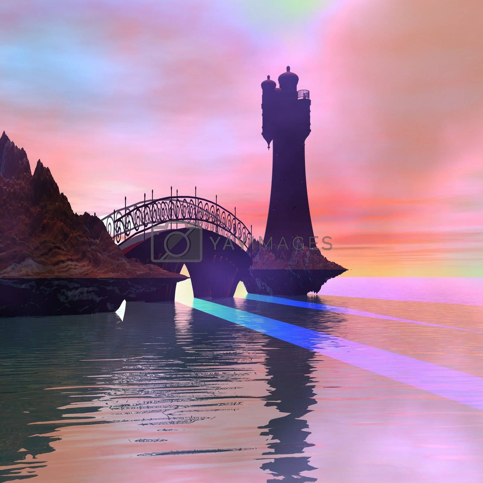 Fantasy lighthouse and bridge.