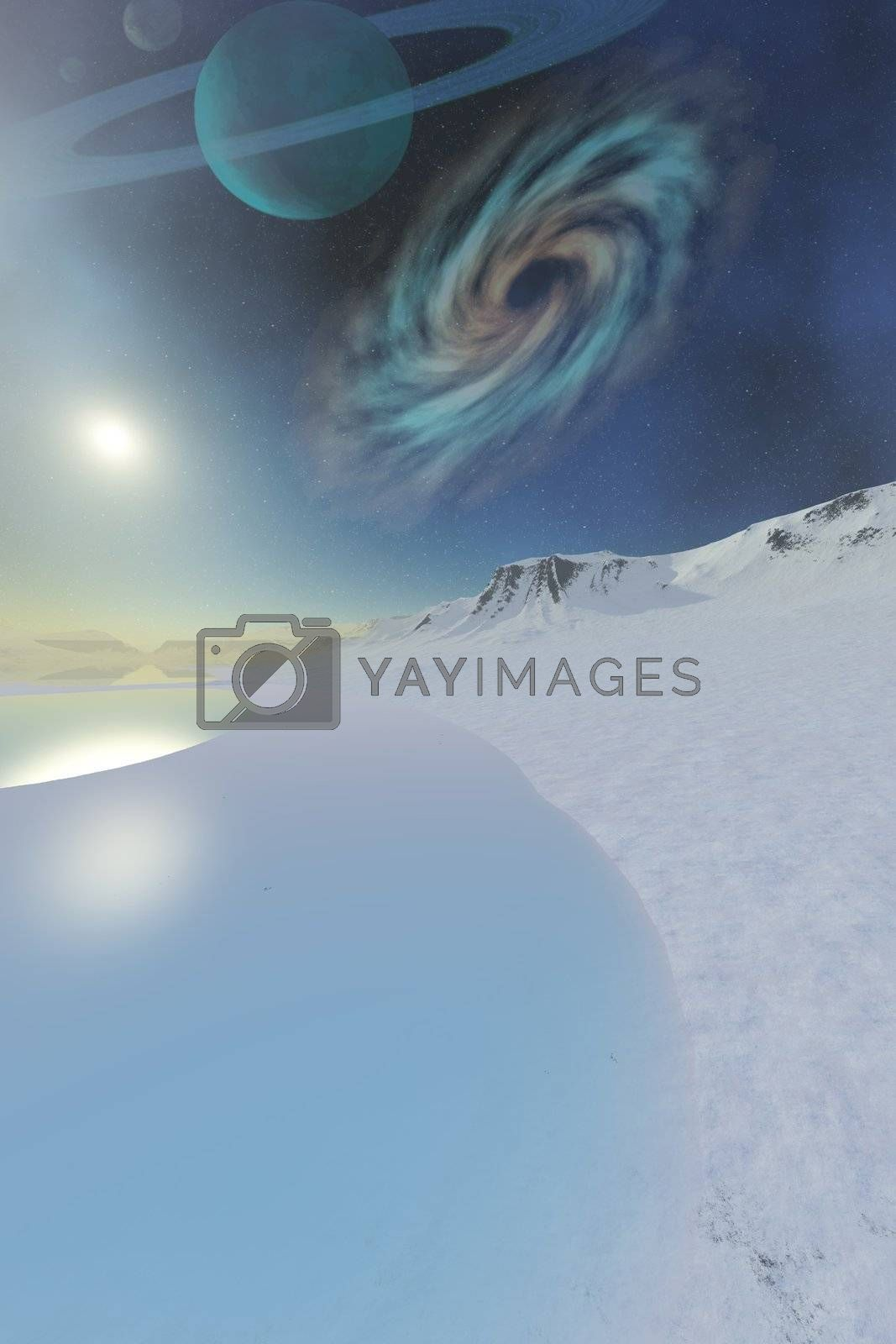 Wintery seascape of an ice world.