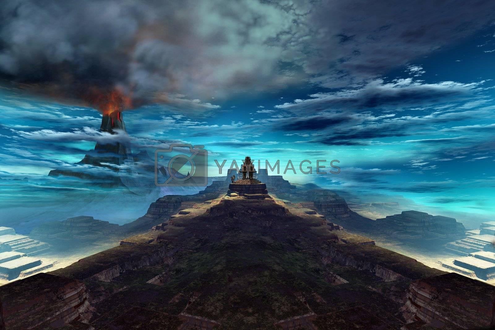 A volcano erupts near an ancient Mayan temple.