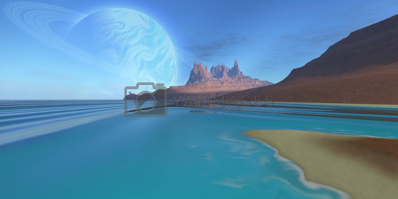 Cosmic seascape on another planet.