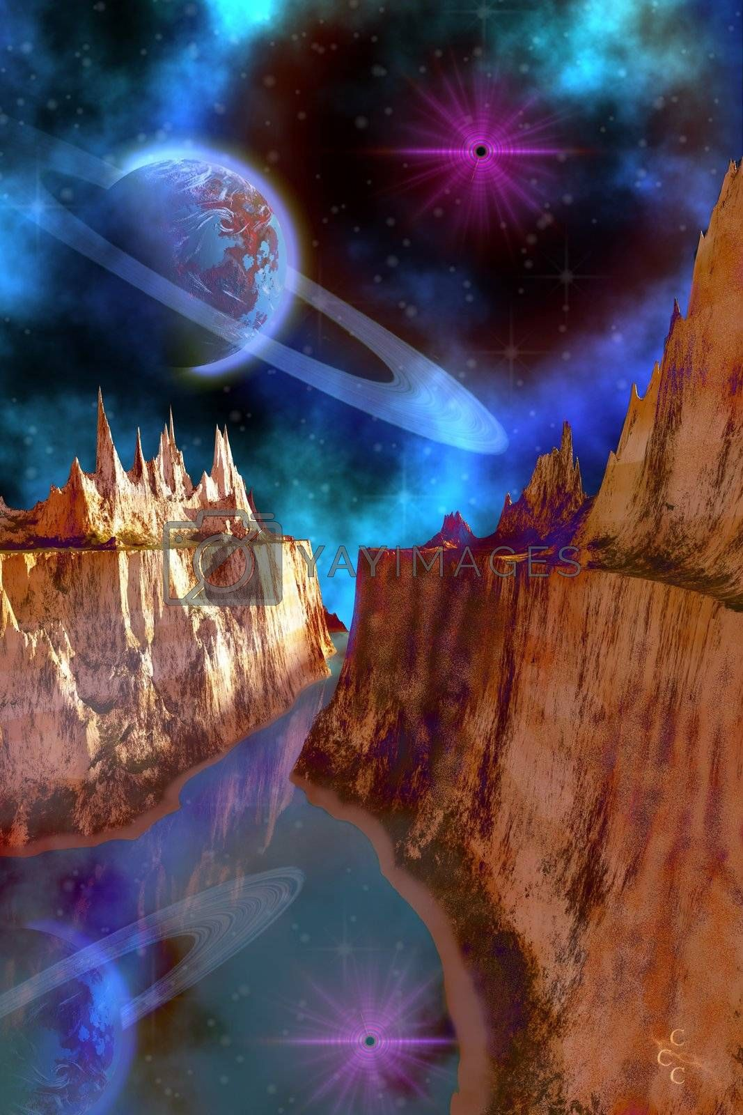 Cosmic seascape on another world.