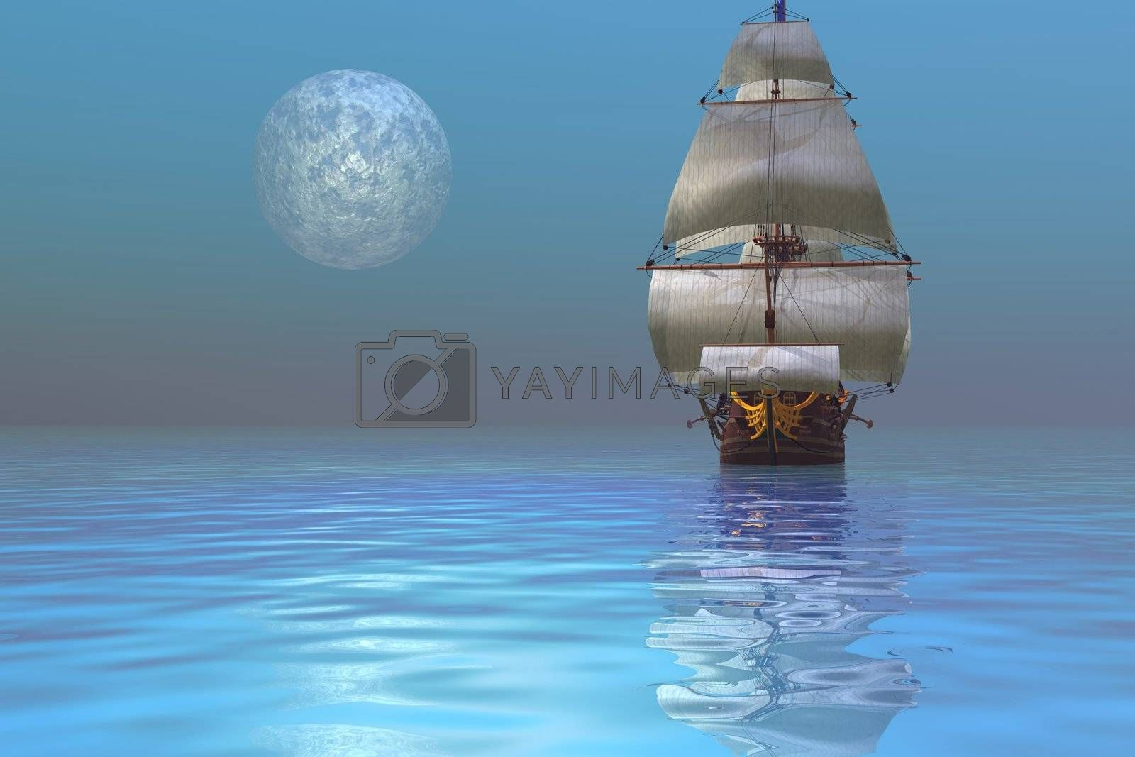 Fantasy seascape of a ship and the moon.