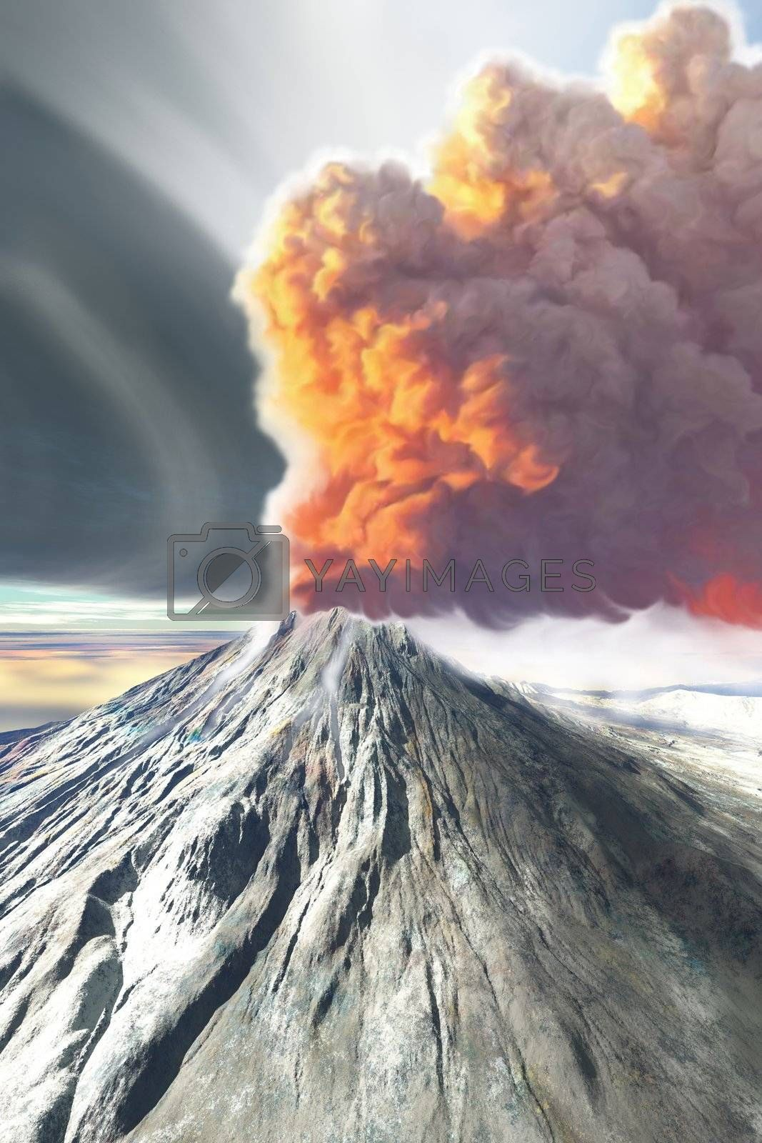 A volcano comes to life with billowing smoke.