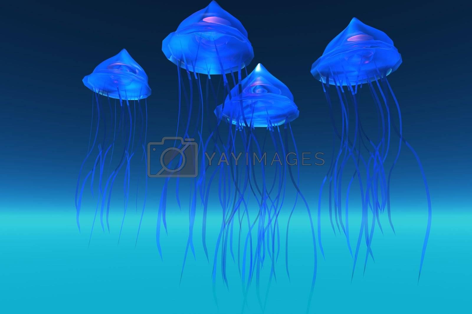 Iridescent glowing blue jeelyfish swim in the ocean.