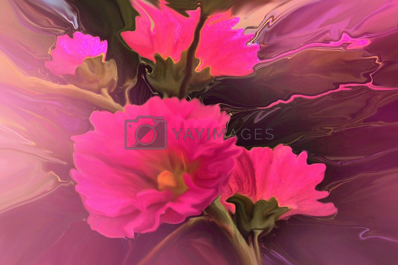 Abstract bouquet of hollyhock flowers.