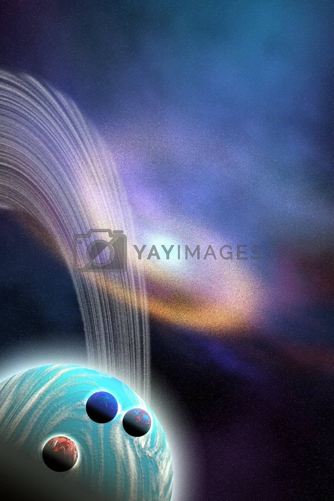 A swirl galaxy is near this ringed planet and its moons.