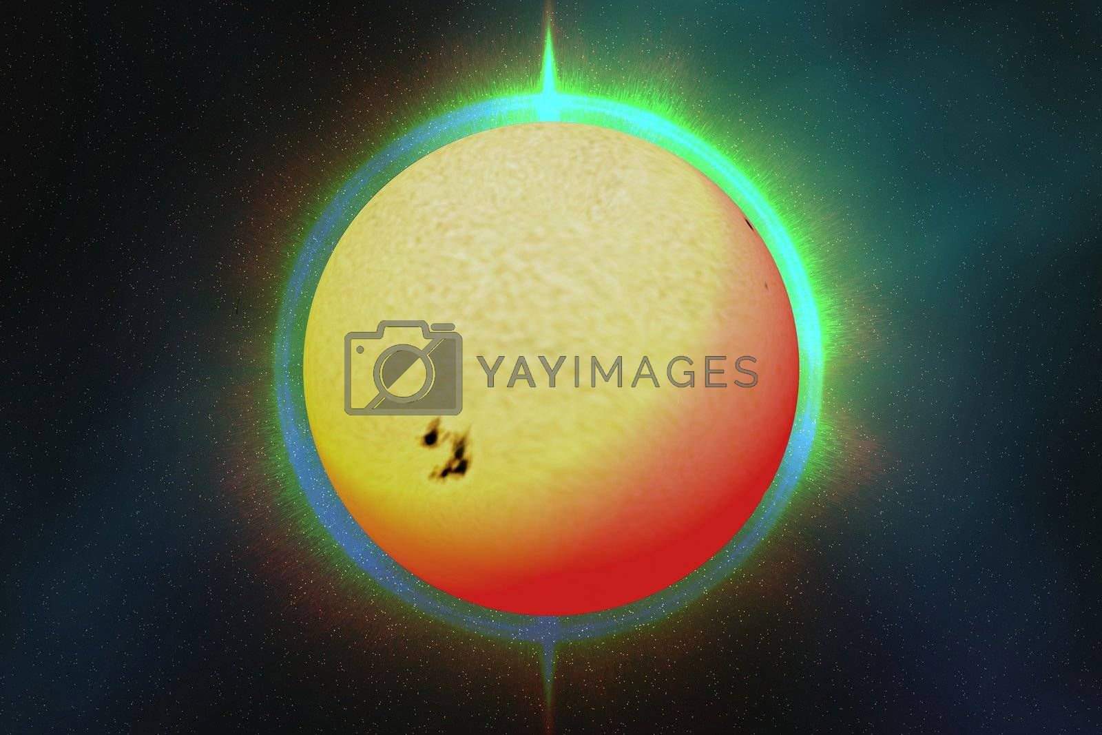 The sun with a colorful aura surrounding it.